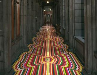 Jim Lambie geometric floor design