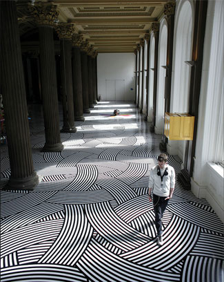 Jim Lambie geometric floor design