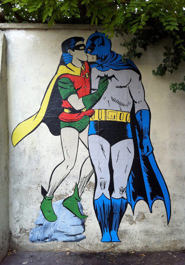 Batman & Robin kissing - Art-Pie