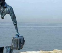 """The immigrant sculpture"" 