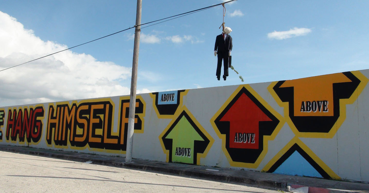 Above street art wall street banker enough rope and he will hang himself miami | Art-Pie
