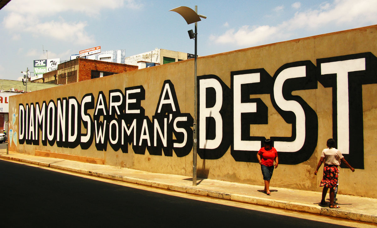 Above street art Diamonds are a woman's best friend and a man's worst enemy | Art-Pie